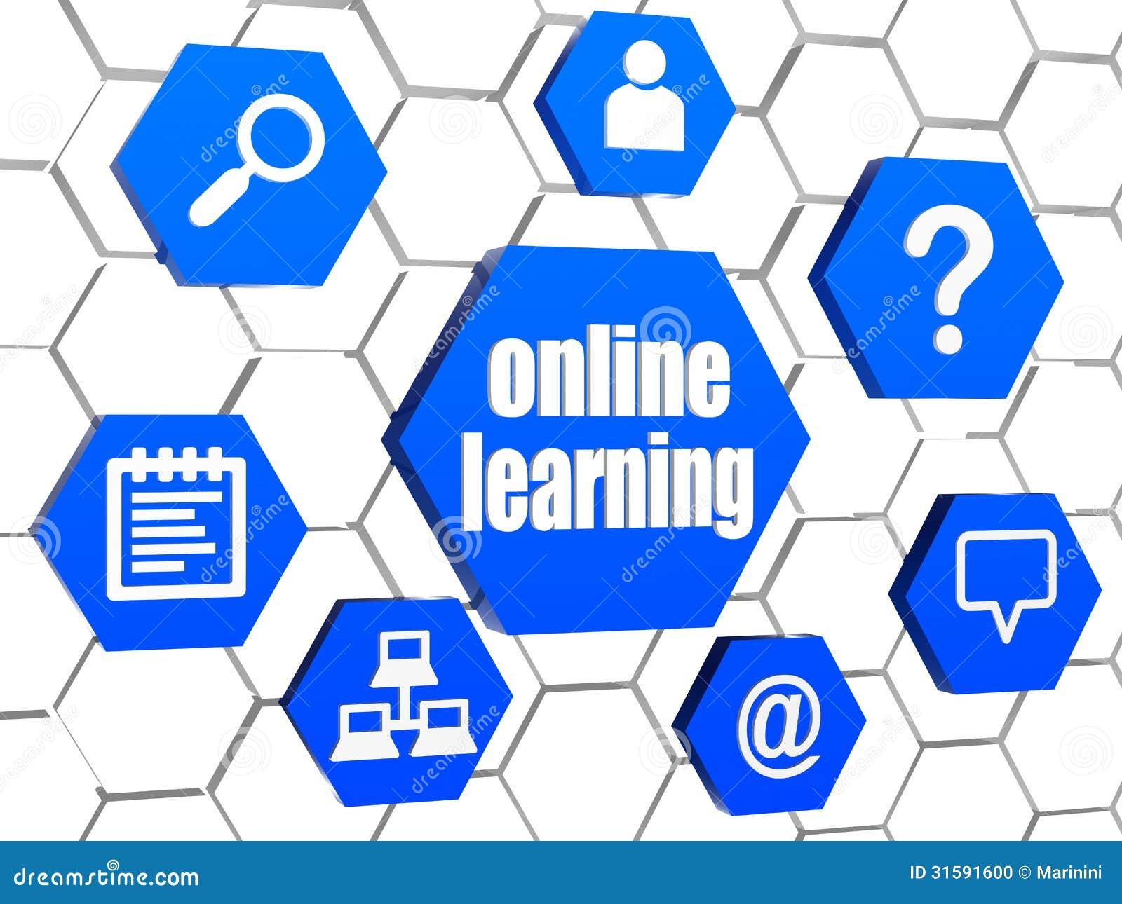 Online uczenie i internet podpisujemy wewnątrz błękitnych sześciokąty