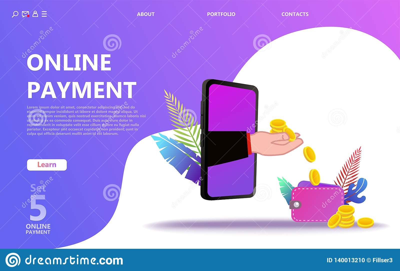 Online-uppsättning för betalningbegreppsillustration