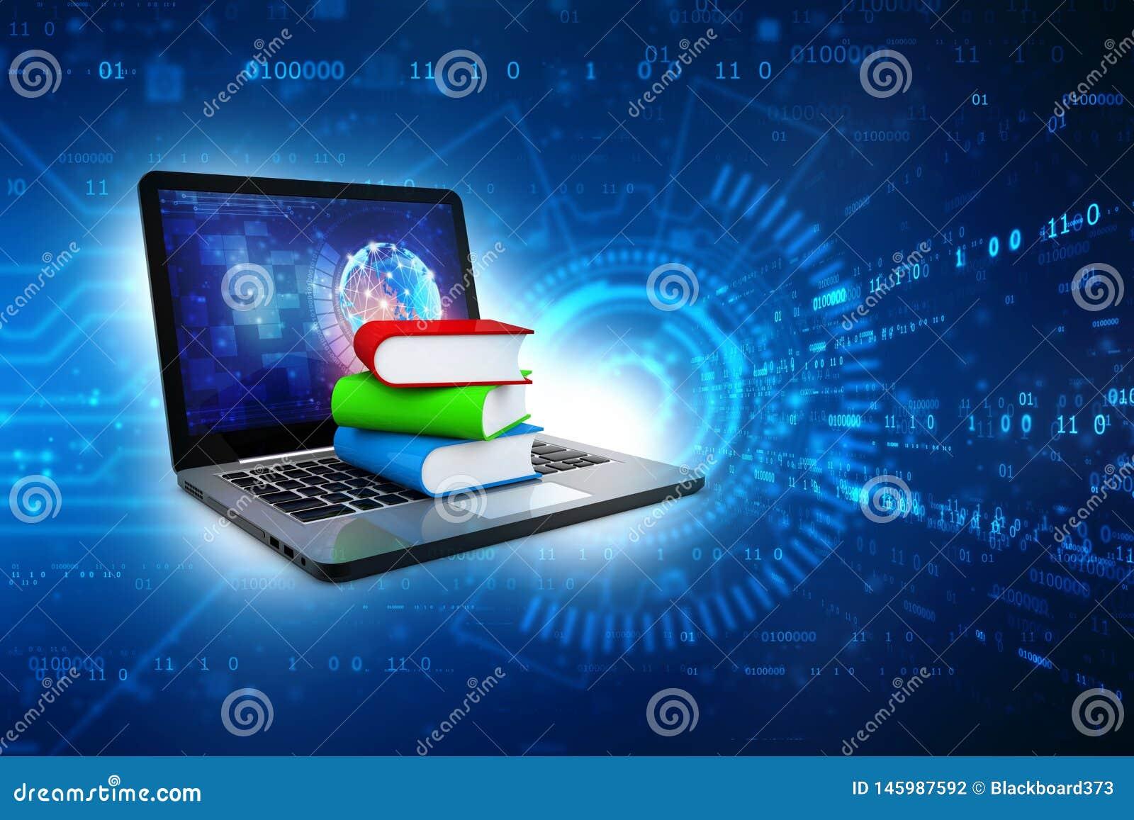 Online-utbildningsbegrepp - b?rbar datordator med f?rgrika b?cker framf?rande 3d