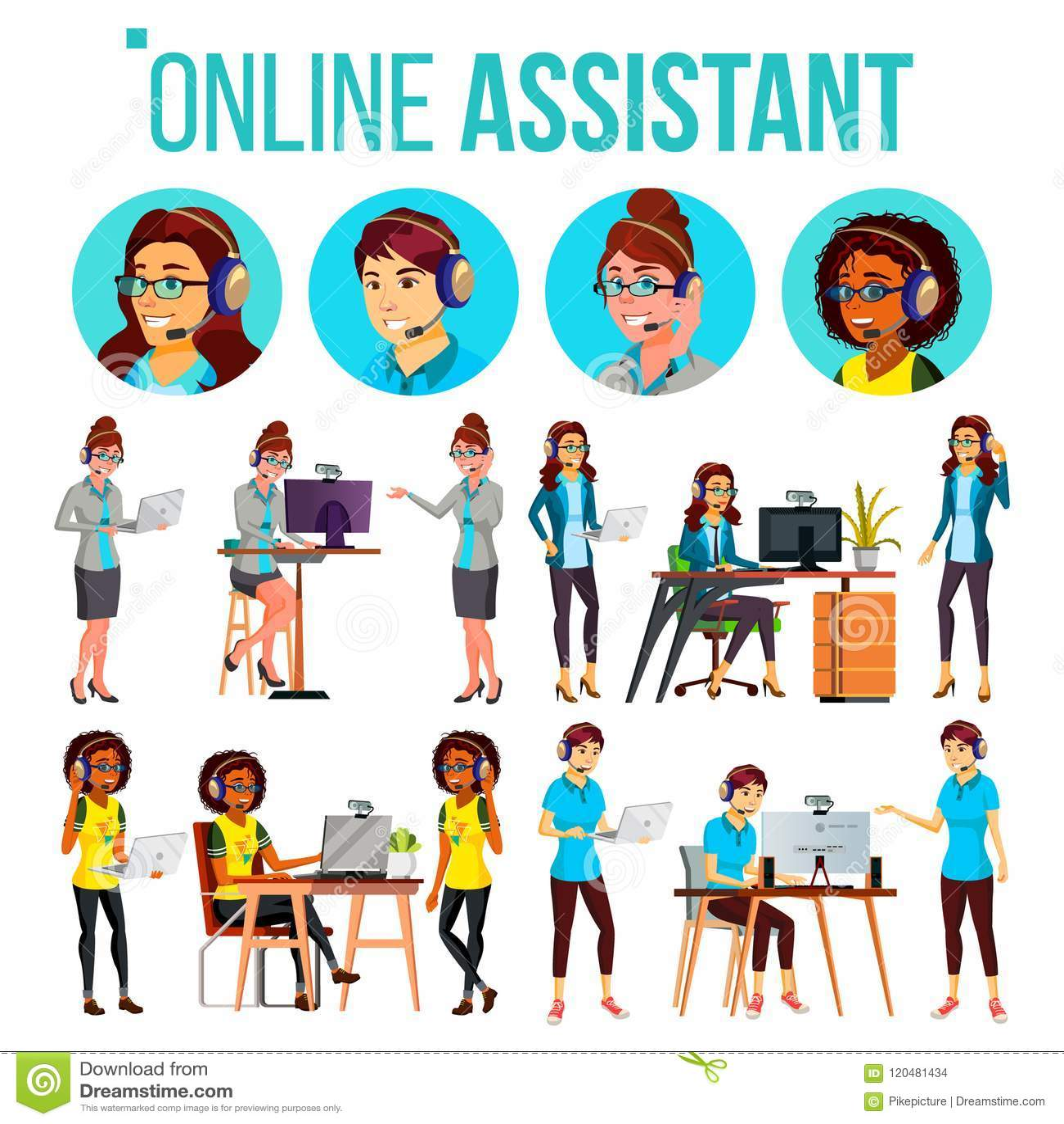 Online-vektor för assistentkvinnauppsättning Online-global techservice 24 7 Råder klienten Headphone hörlurar med mikrofon samtal