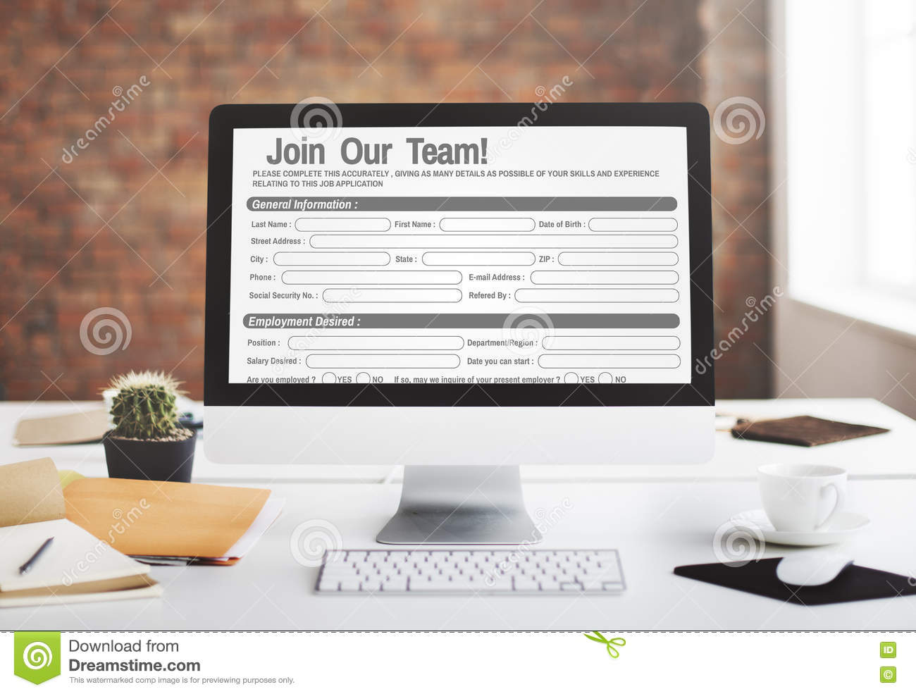 Online Web Job Application Form Concept Stock Image - Image of ...