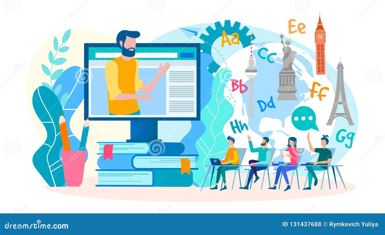 Online webinars, vreemde taallessen online Klassen in vreemde talen in de groep online Vector illustratie
