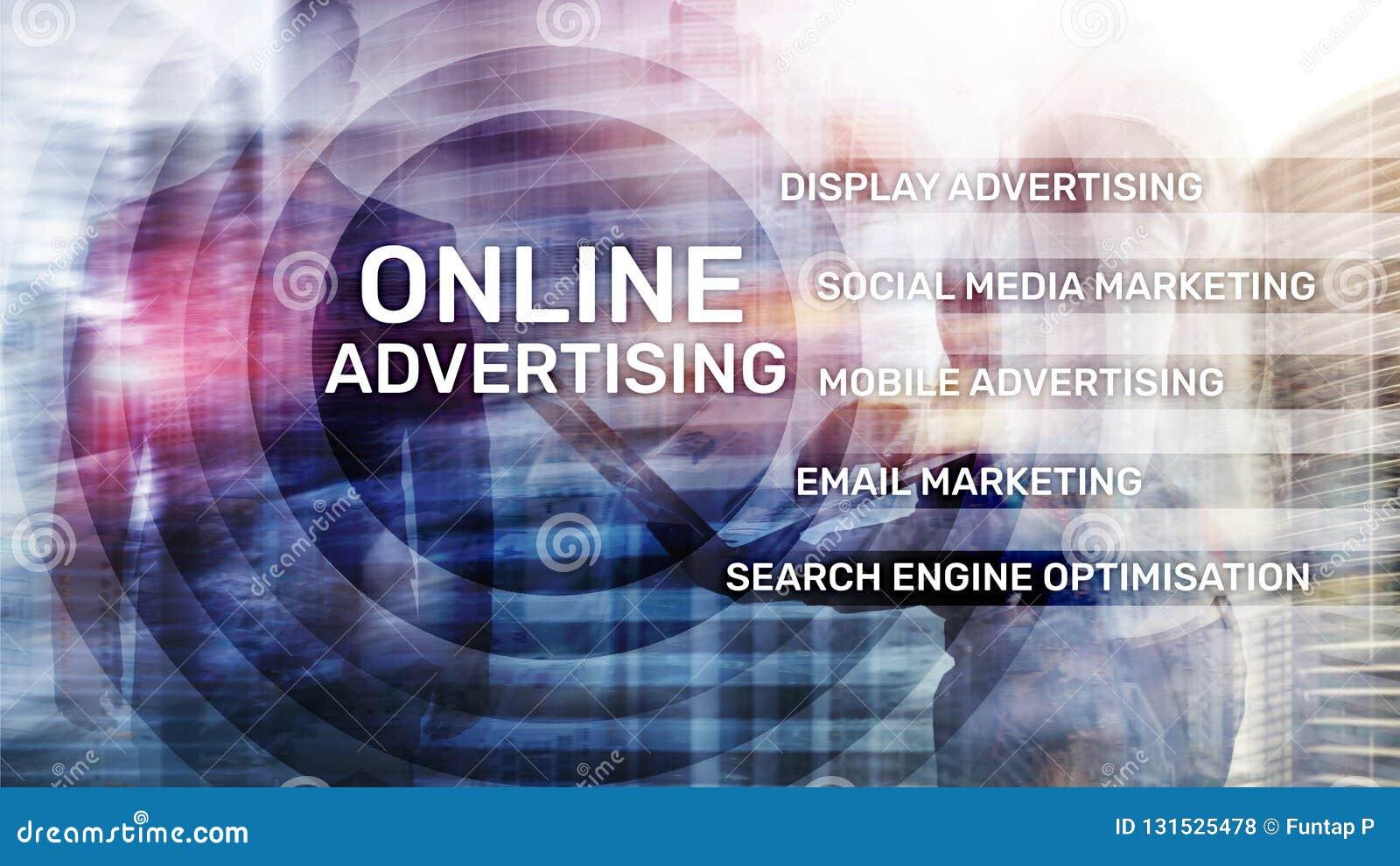 Online-Werbung, Digital-Marketing Geschäfts- und Finanzkonzept auf virtuellem Schirm