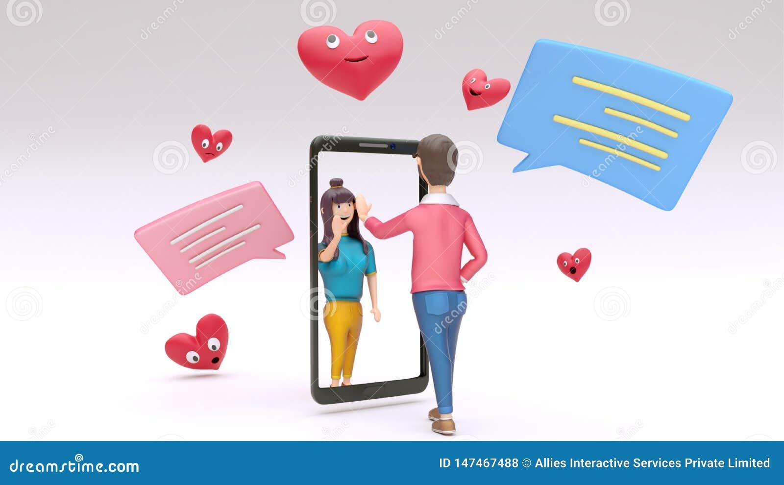 Online wideo dzwonić smartphone między dwa kochającym charakterem z gawędzenia pudełkiem i kreskówek serca kształtujemy
