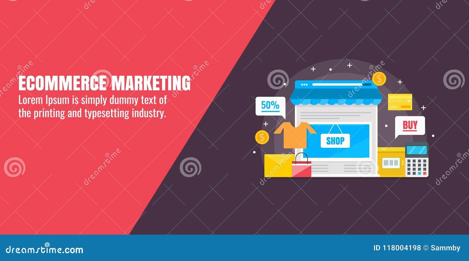 Online winkelend, elektronische handel marketing, online opslag, marketing technologie, bedrijfsstrategieconcept Vlakke ontwerp v
