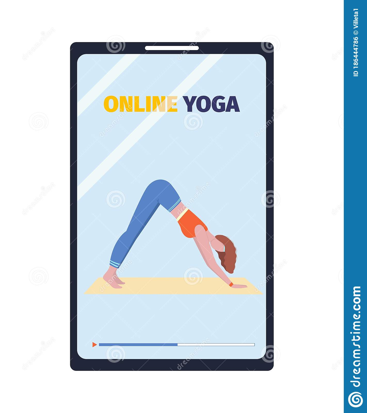 Online Yoga Classes In A Smartphone Fitness From Home Concept Vector Design For Icon Poster Banner Stock Vector Illustration Of Banner Illustration 186444786