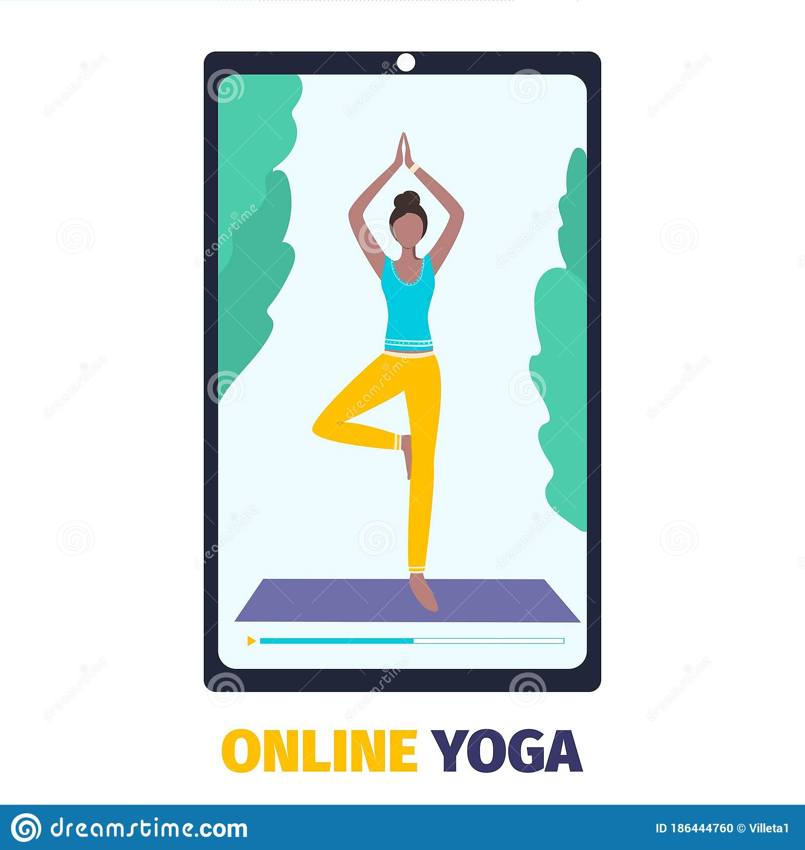 Online Yoga And Fitness App On A Smartphone Workout From Home With Mobile Device Vector Stock Vector Illustration Of Distant Health 186444760