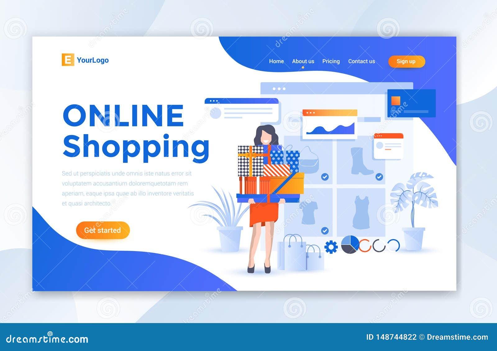 Online zakupy handlu elektronicznego strony internetowej l?dowania strony projekta szablon - wektor