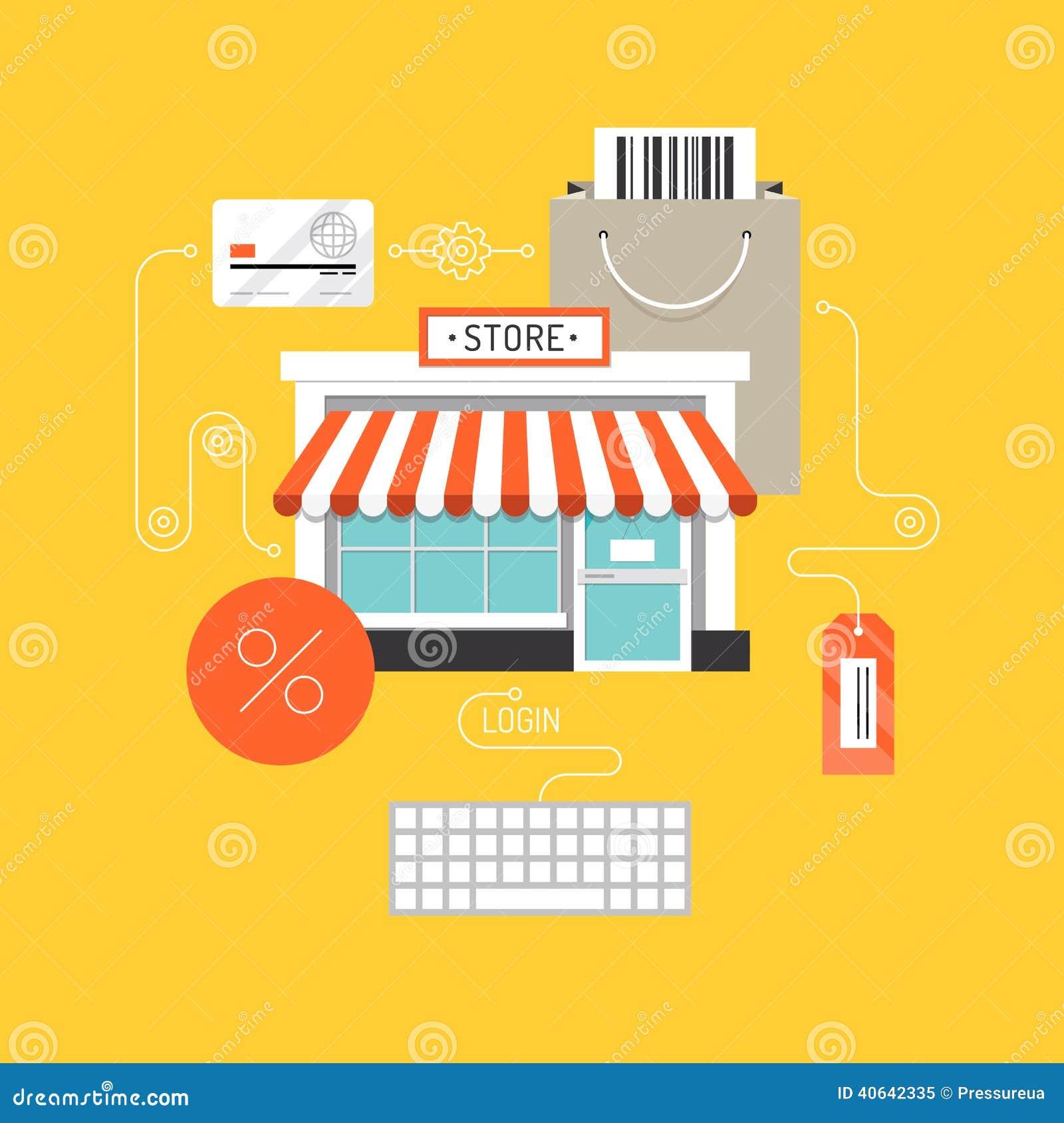 Online zakupy płaski ilustracyjny pojęcie