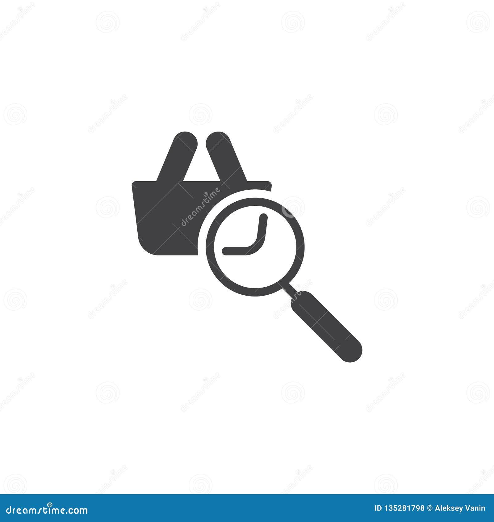 Online zakupy rewizji wektoru ikona
