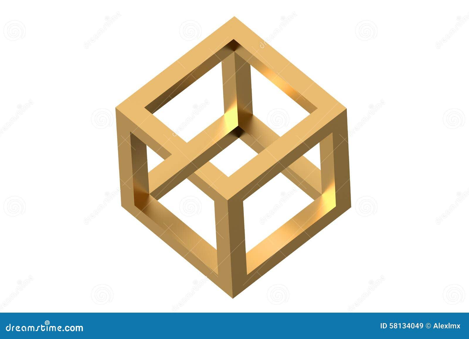 Onmogelijke kubusoptische illusie