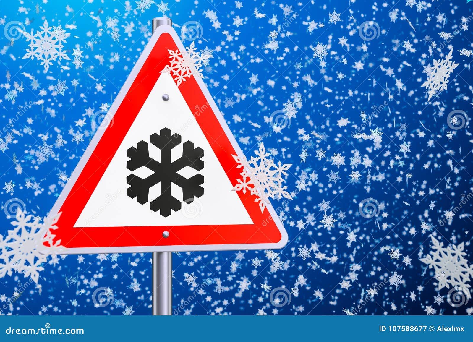 Ono wystrzega się lód lub śnieg, drogowy znak świadczenia 3 d
