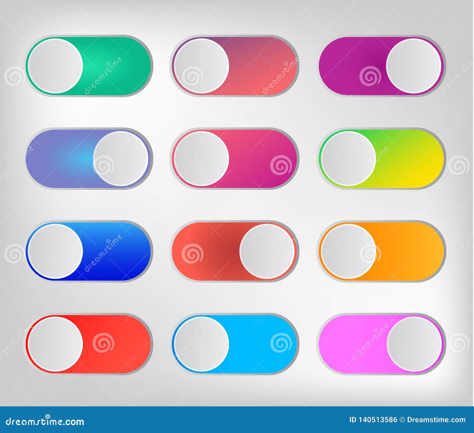 Onoff coloré de changeurs d icône plate d isolement sur le fond blanc