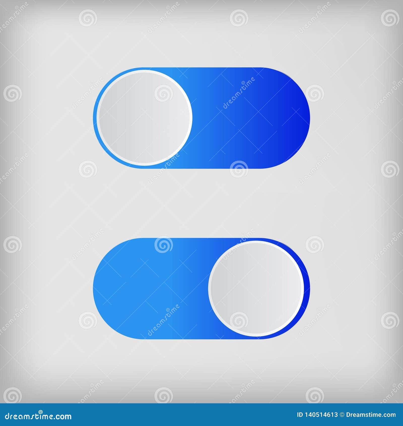 Onoff colorido de los interruptores del icono plano aislado en el fondo blanco