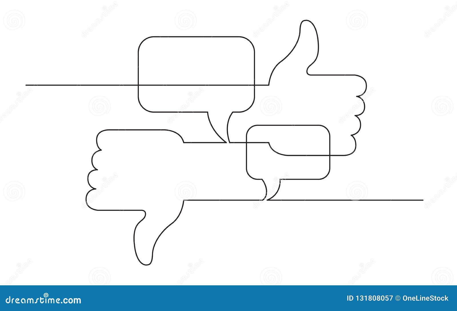 Ononderbroken de schetstekening van het lijnconcept van sociale media als, afkeer en adviezensymbolen
