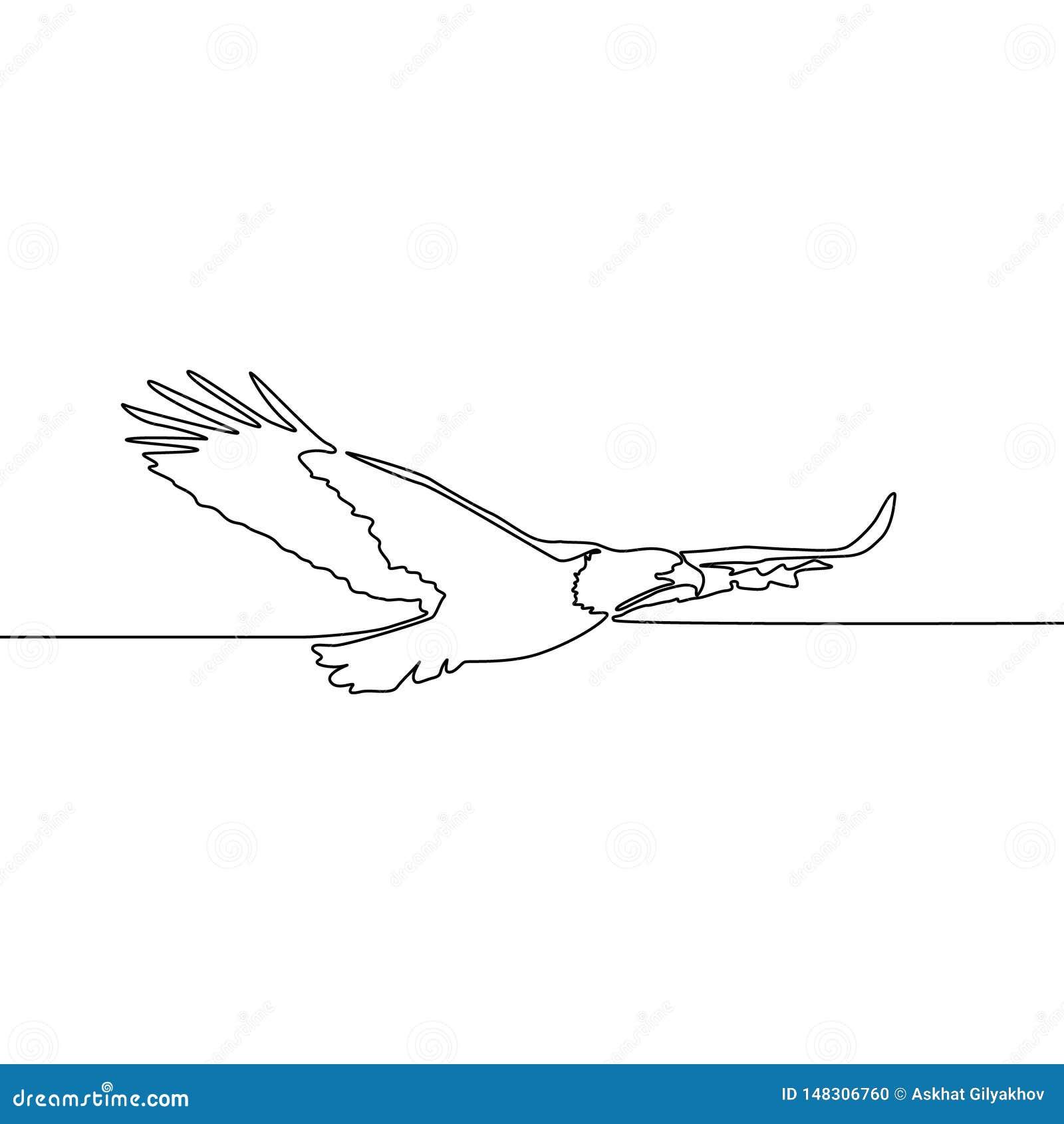 Ononderbroken de Vliegende adelaar van de lijntekening Vector illustratie