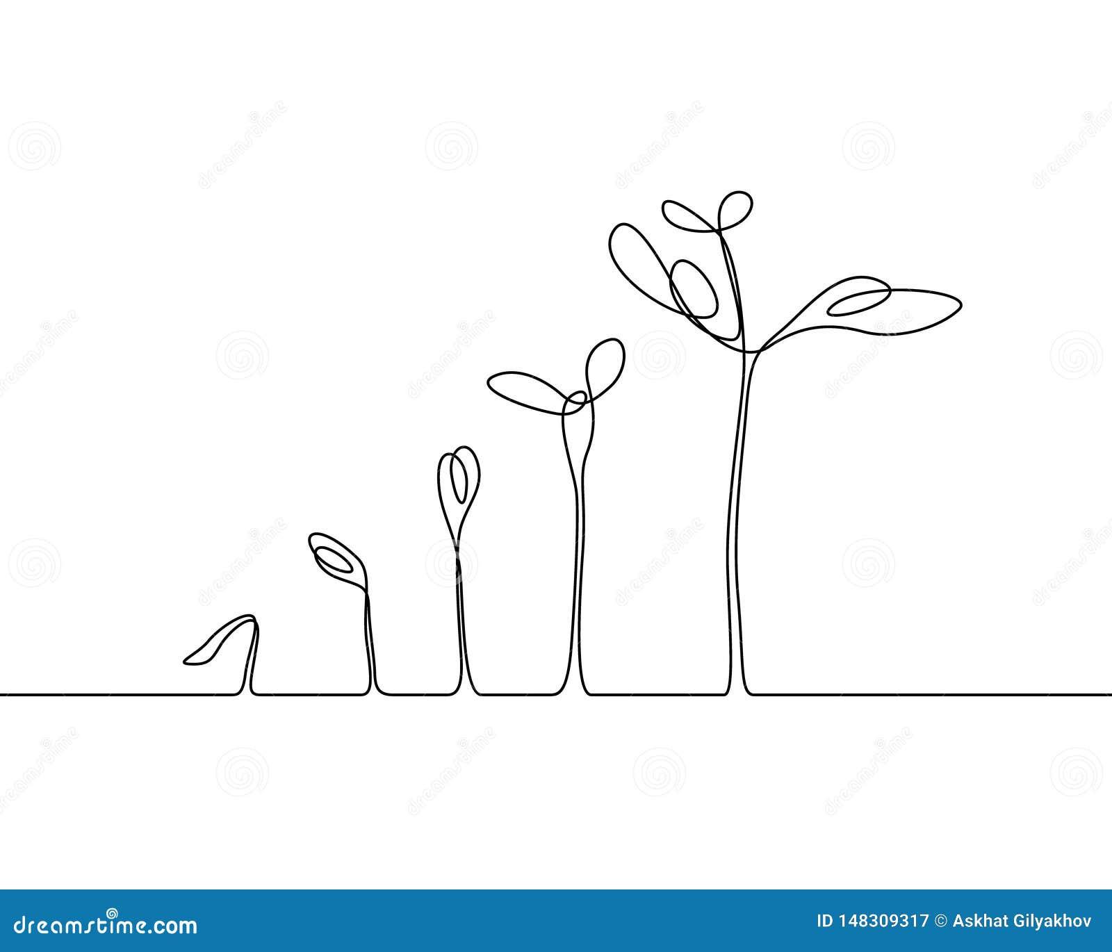Ononderbroken het proces van de de Installatiegroei van de lijntekening Vector illustratie