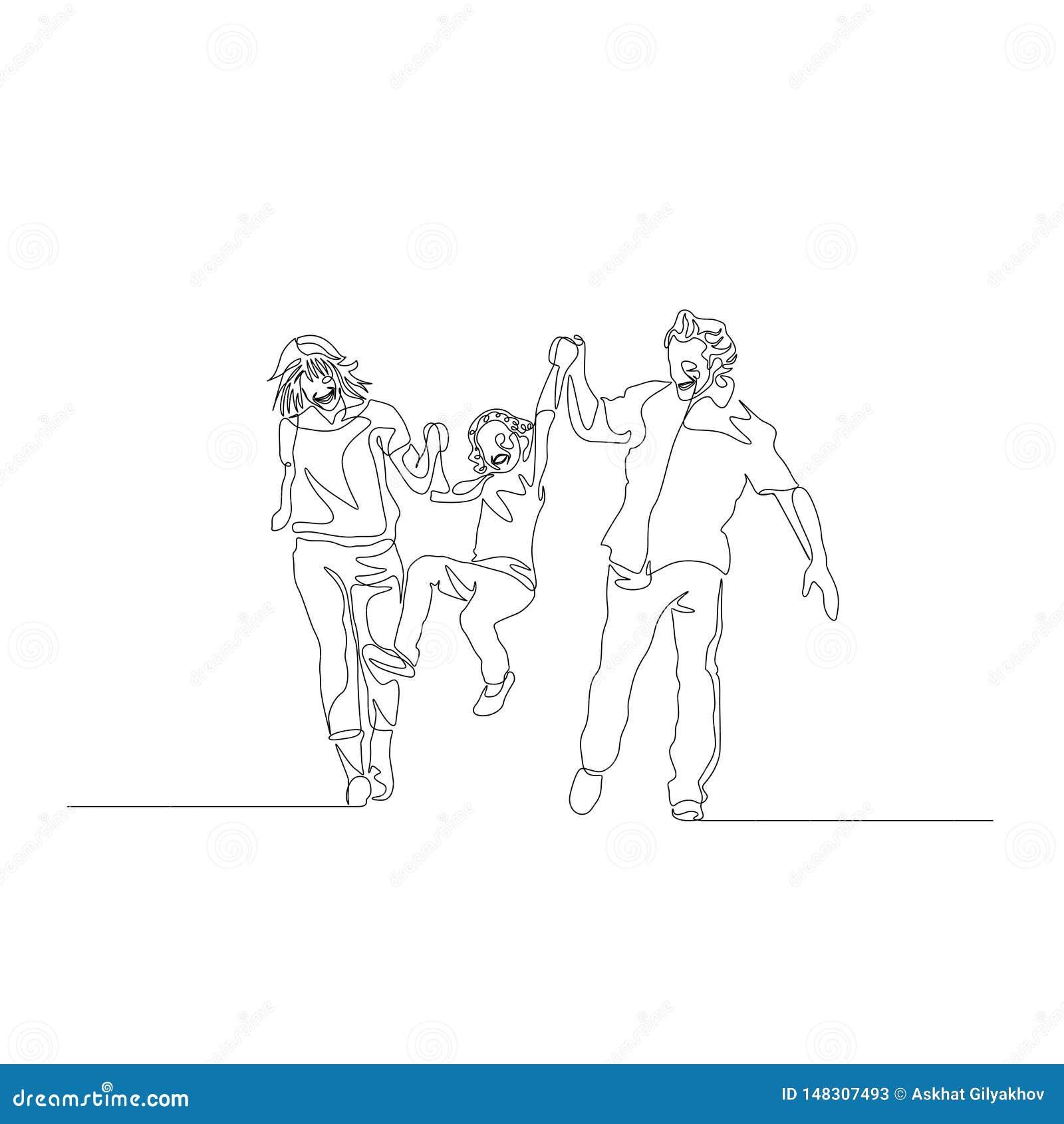 Ononderbroken lijn gelukkige familie samen en slingerende zoon die lopen