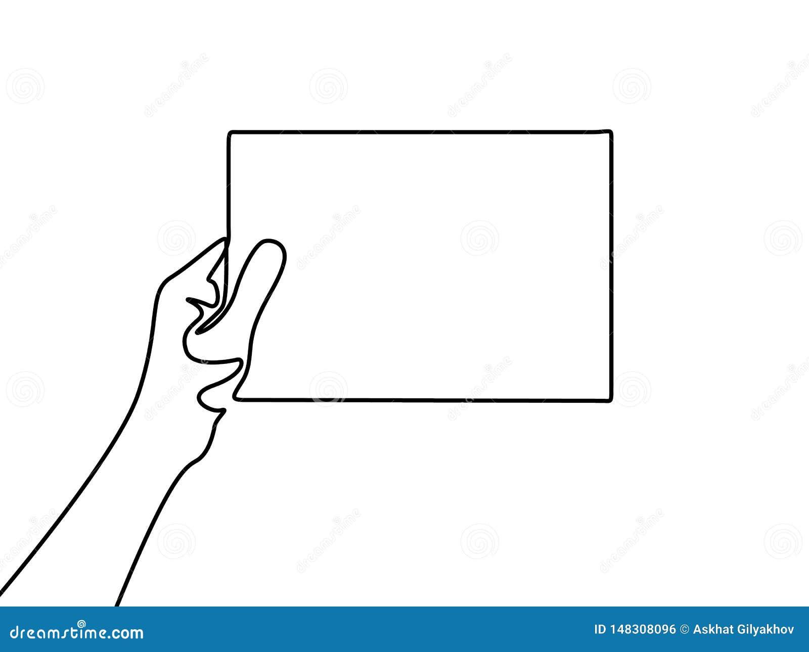 Ononderbroken lijnhand die een leeg blad van document houden
