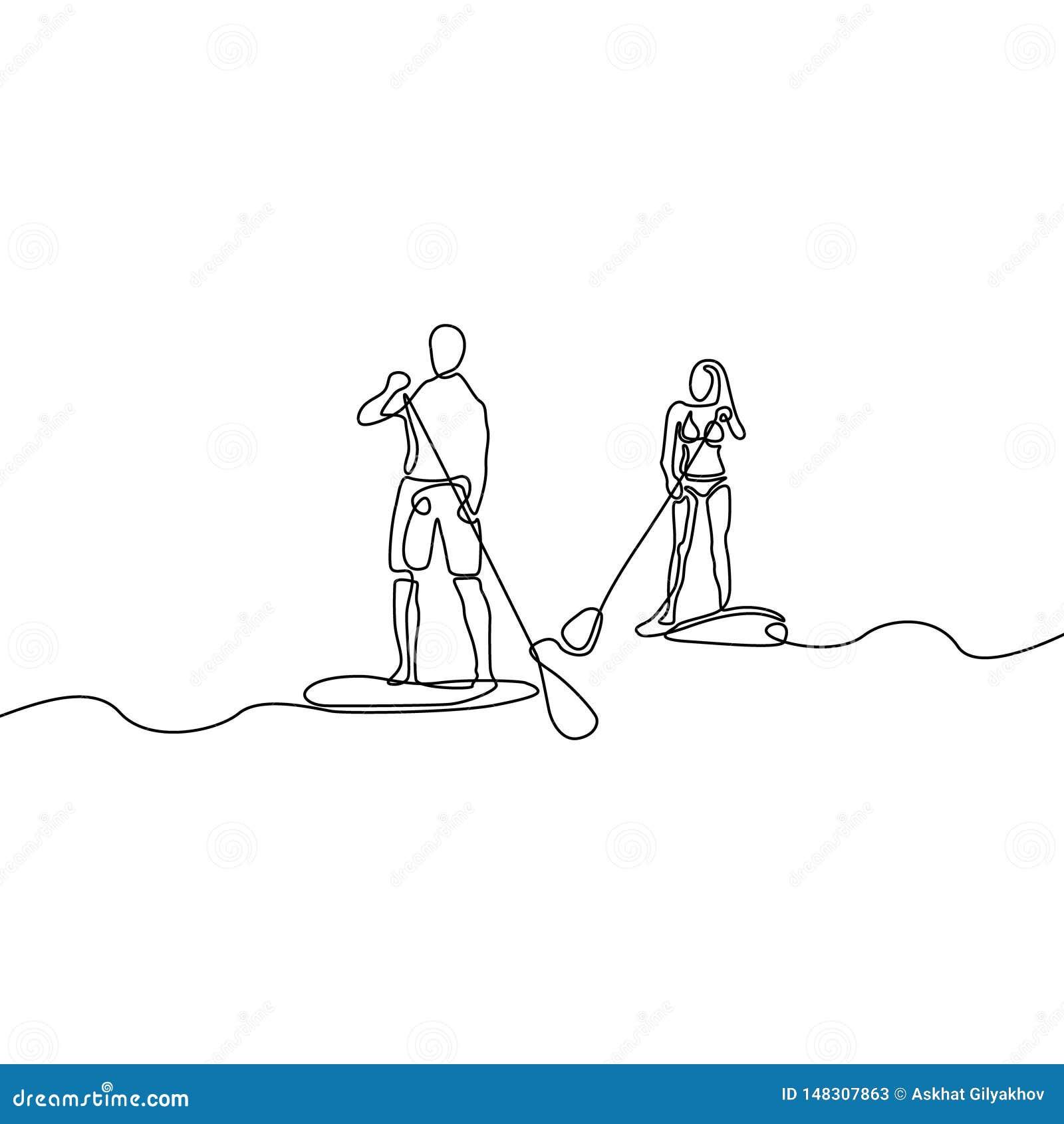 Ononderbroken lijnman en vrouw die peddel het inschepen doen