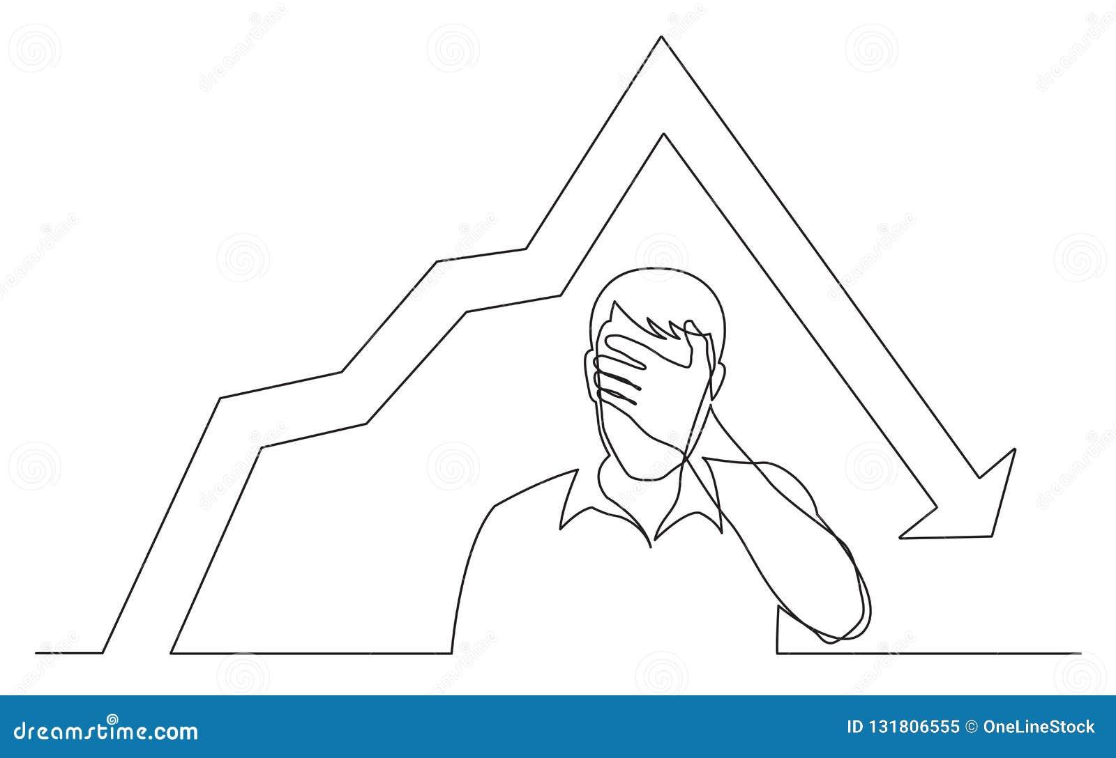Ononderbroken lijntekening die van de mens zijn gezicht in wanhoop wegens het verminderen grafiek verbergen