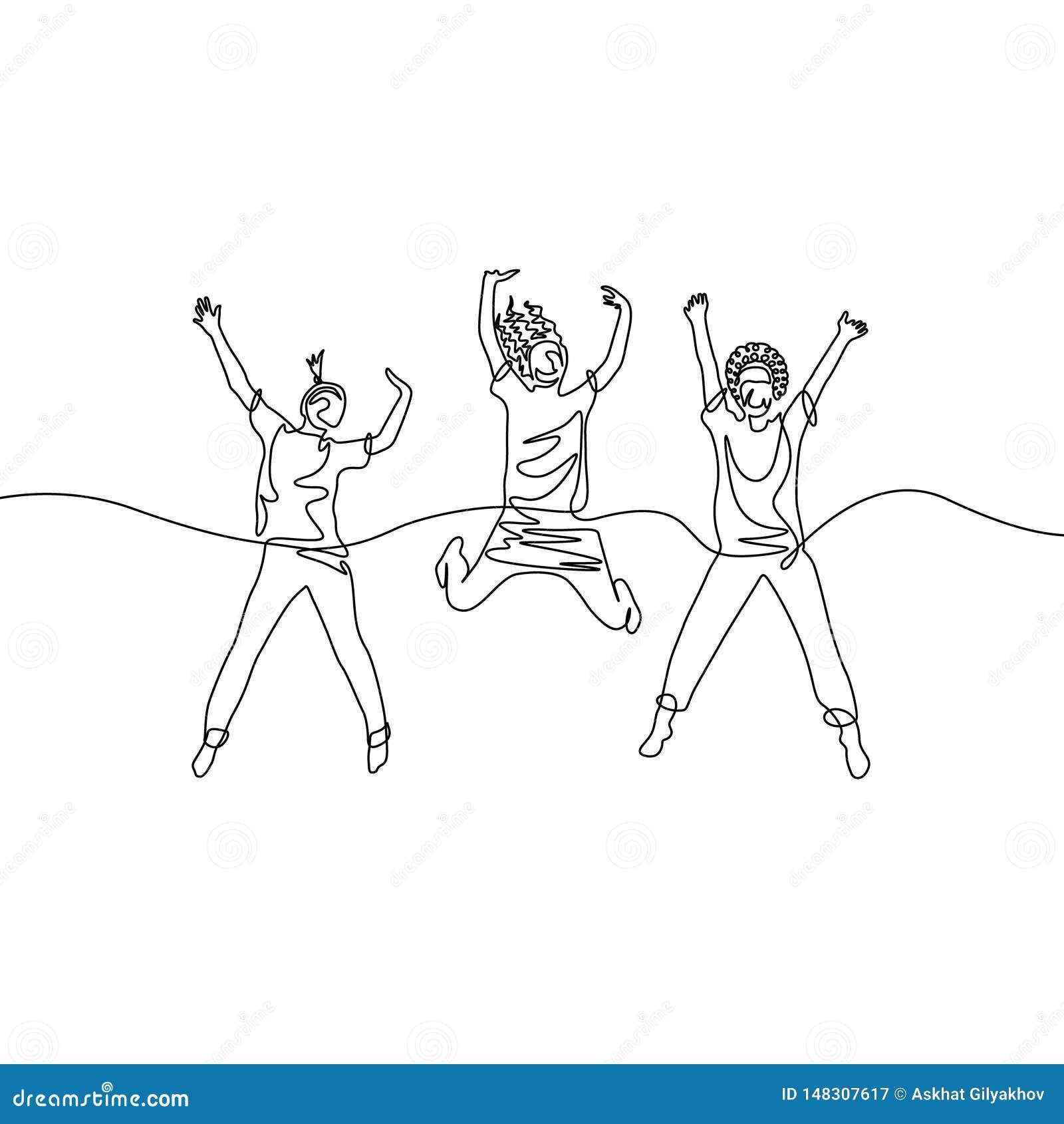 Ononderbroken lijntekening drie springende meisjes