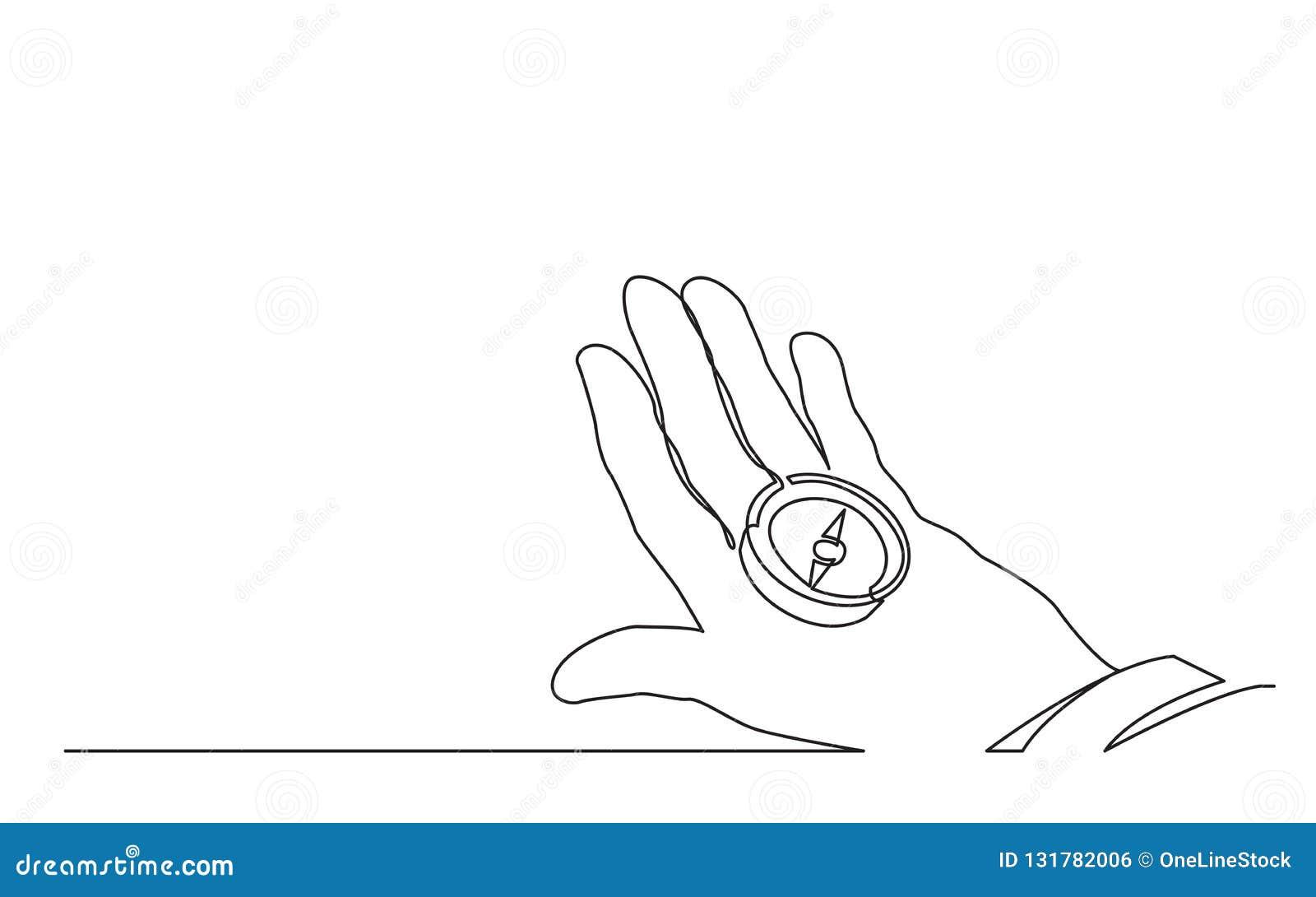 Ononderbroken lijntekening van het kompas van de handholding