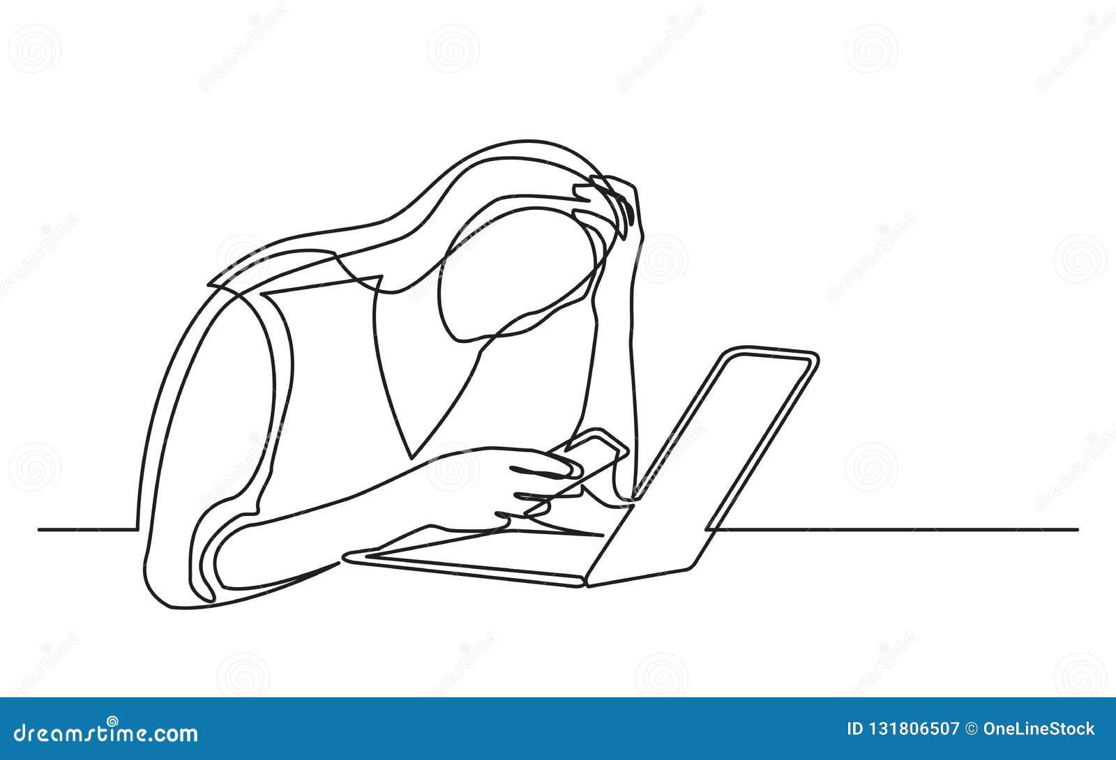 Ononderbroken lijntekening van vrouw met mobiele telefoon en laptop in wanhoop