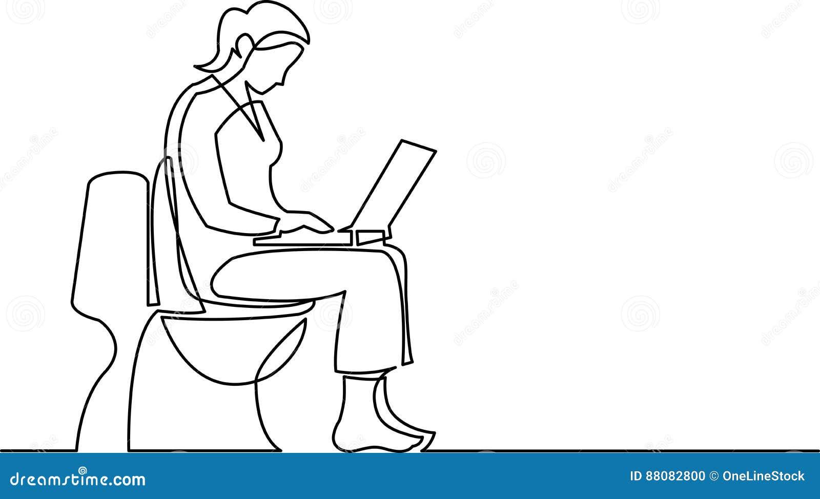 Ononderbroken lijntekening van vrouwenzitting op toiletzetel