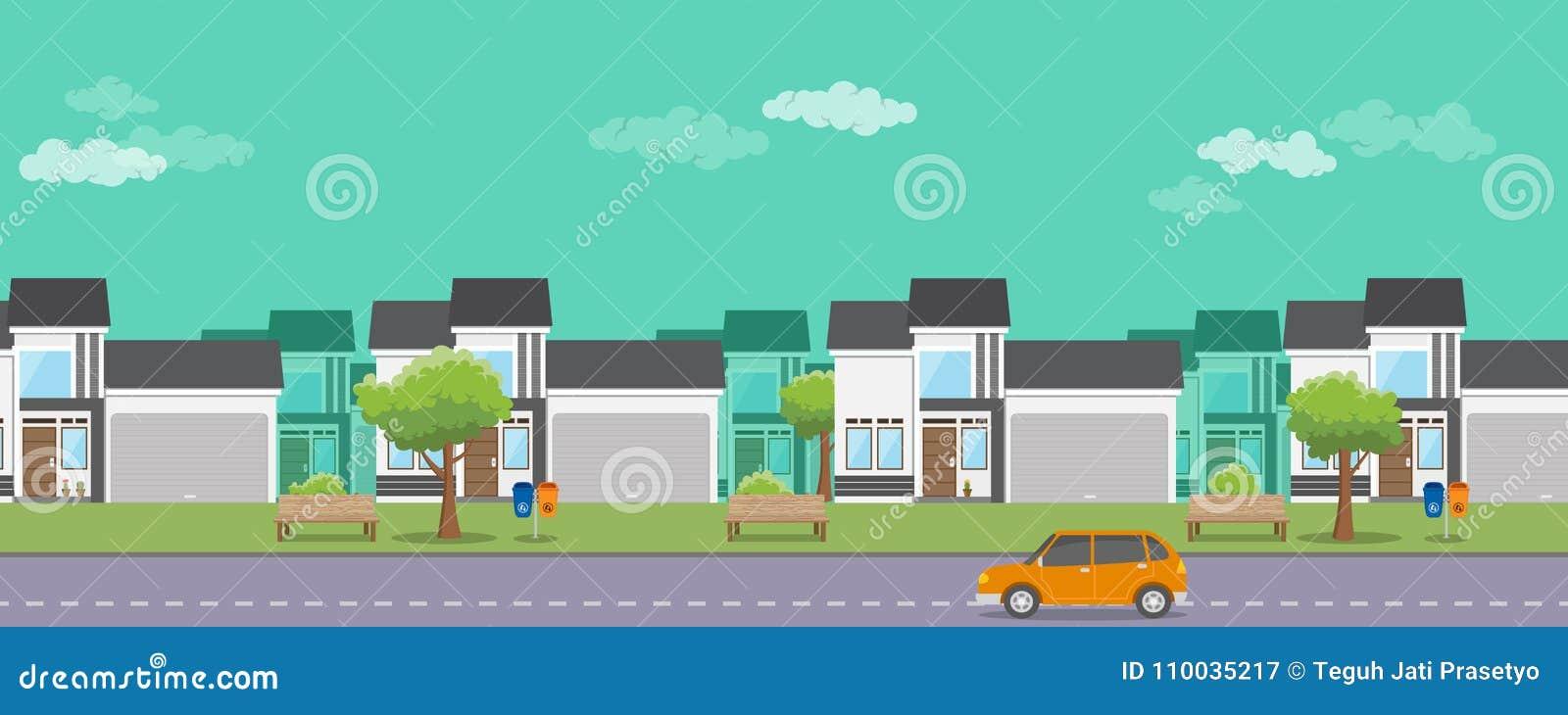 Onroerende goederen huisvesten met vlakke stijl en auto op de straat