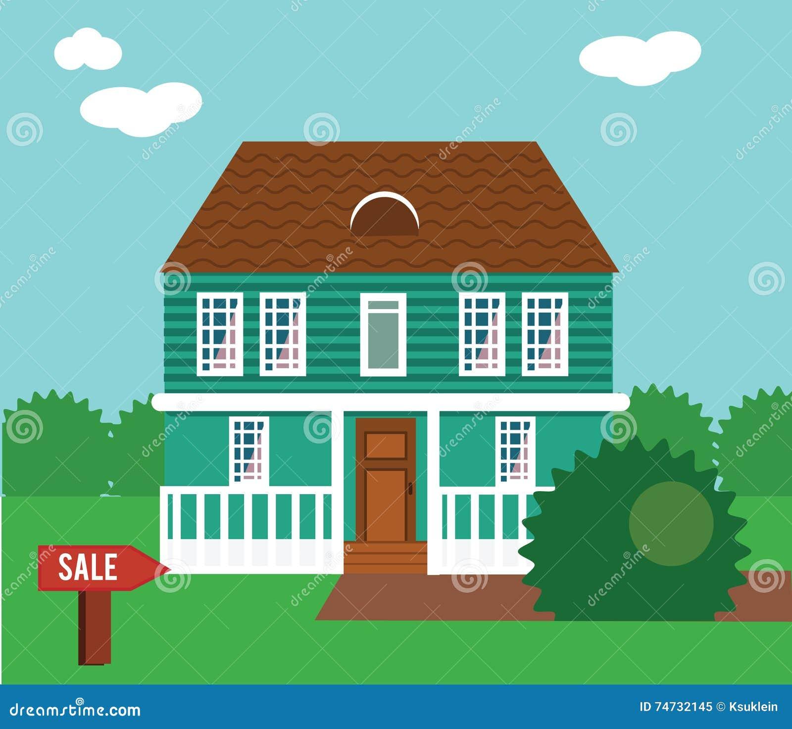 Onroerende goederen op verkoop Huis, plattelandshuisje, huis in de stad, herenhuis vectorillustratie