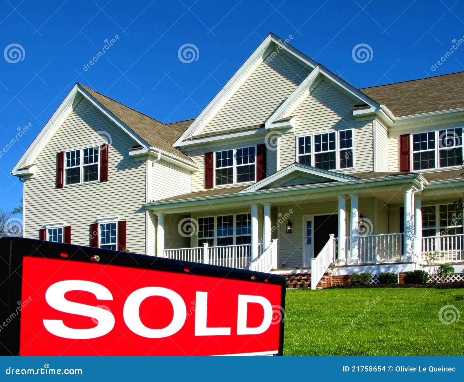 Onroerende goederen verkocht teken en huis voor verkoop stock afbeeldingen afbeelding 21758654 - Huis verkoop ...
