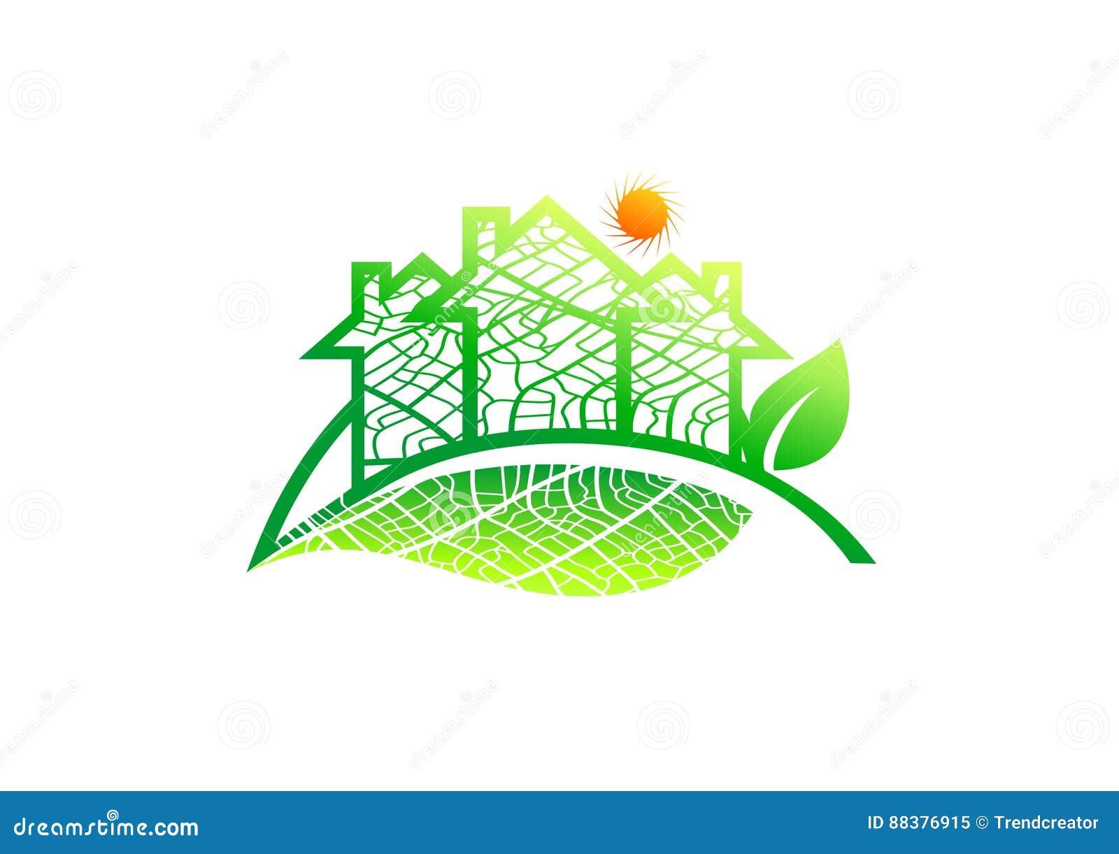 Onroerende goederenembleem, het pictogram van het huisblad, organisch architectuurteken, de natuurlijke bouw, zonne-energiebouw,