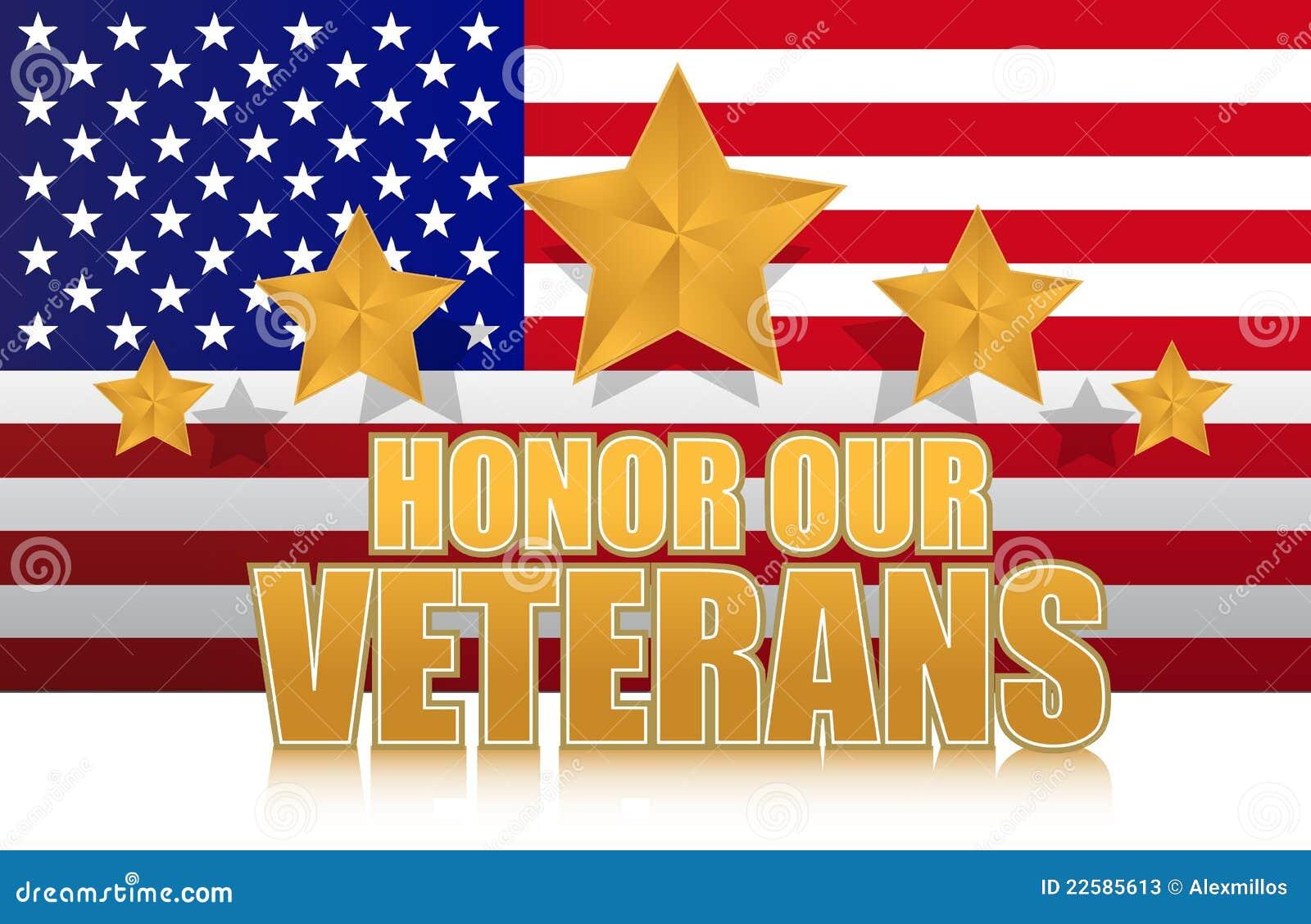 Ons eren ons teken van de veteranen gouden illustratie