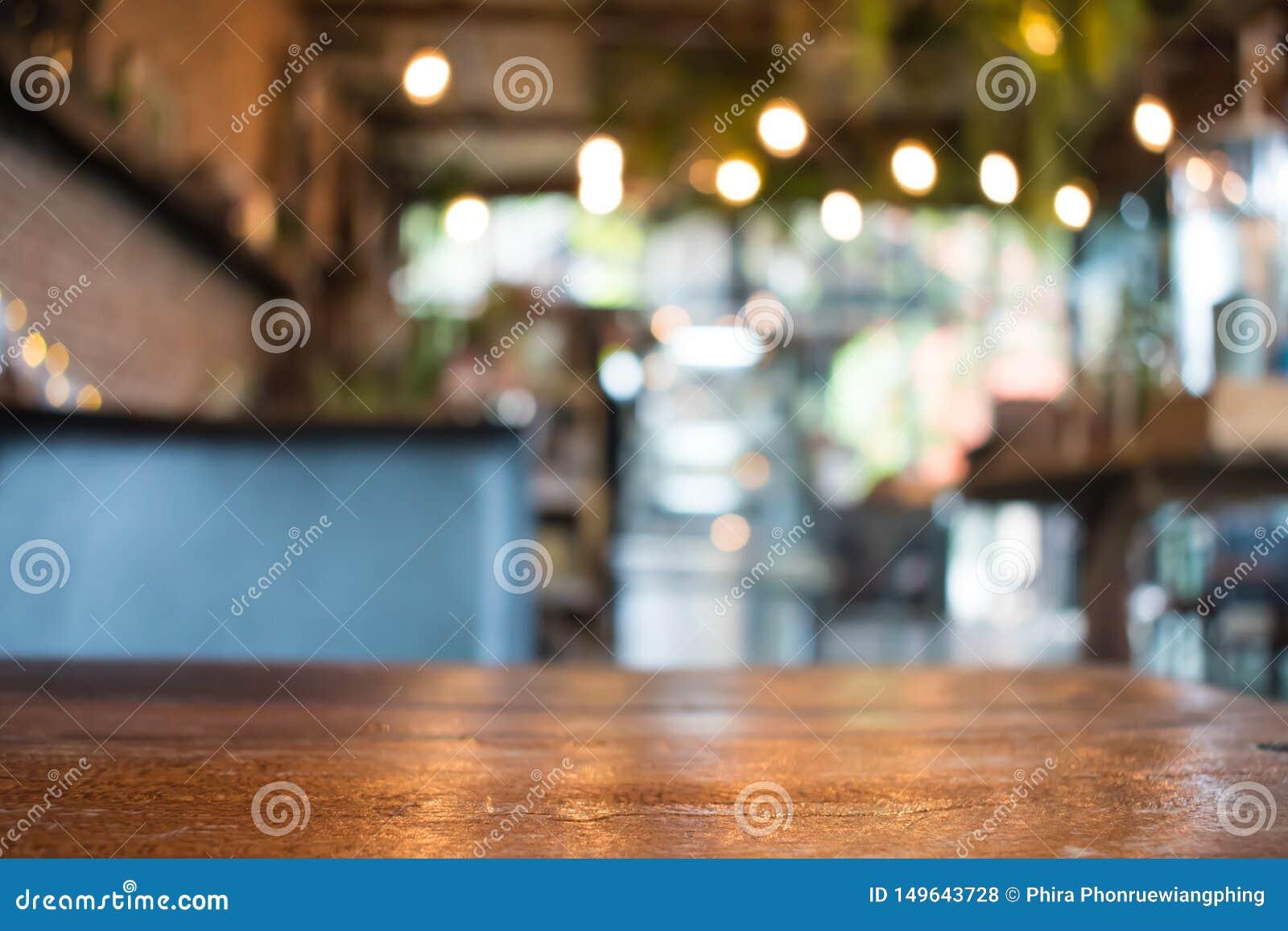Onscherpe beelden in een koffie De achtergrond van het onduidelijke beeld