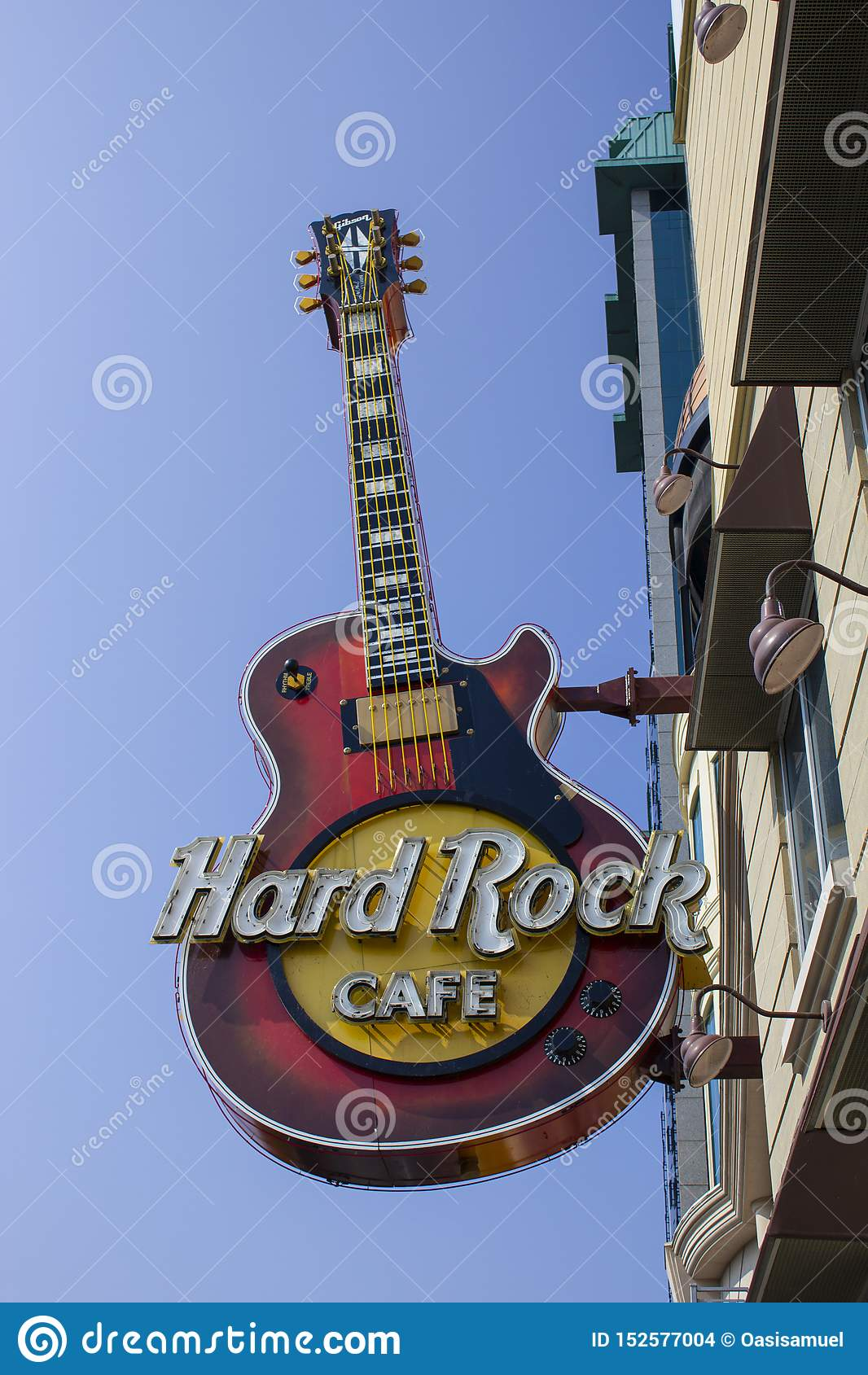 Ontario Toronto, Kanada Juni 2010, Hard Rock Cafe stänger sig upp av tecknet
