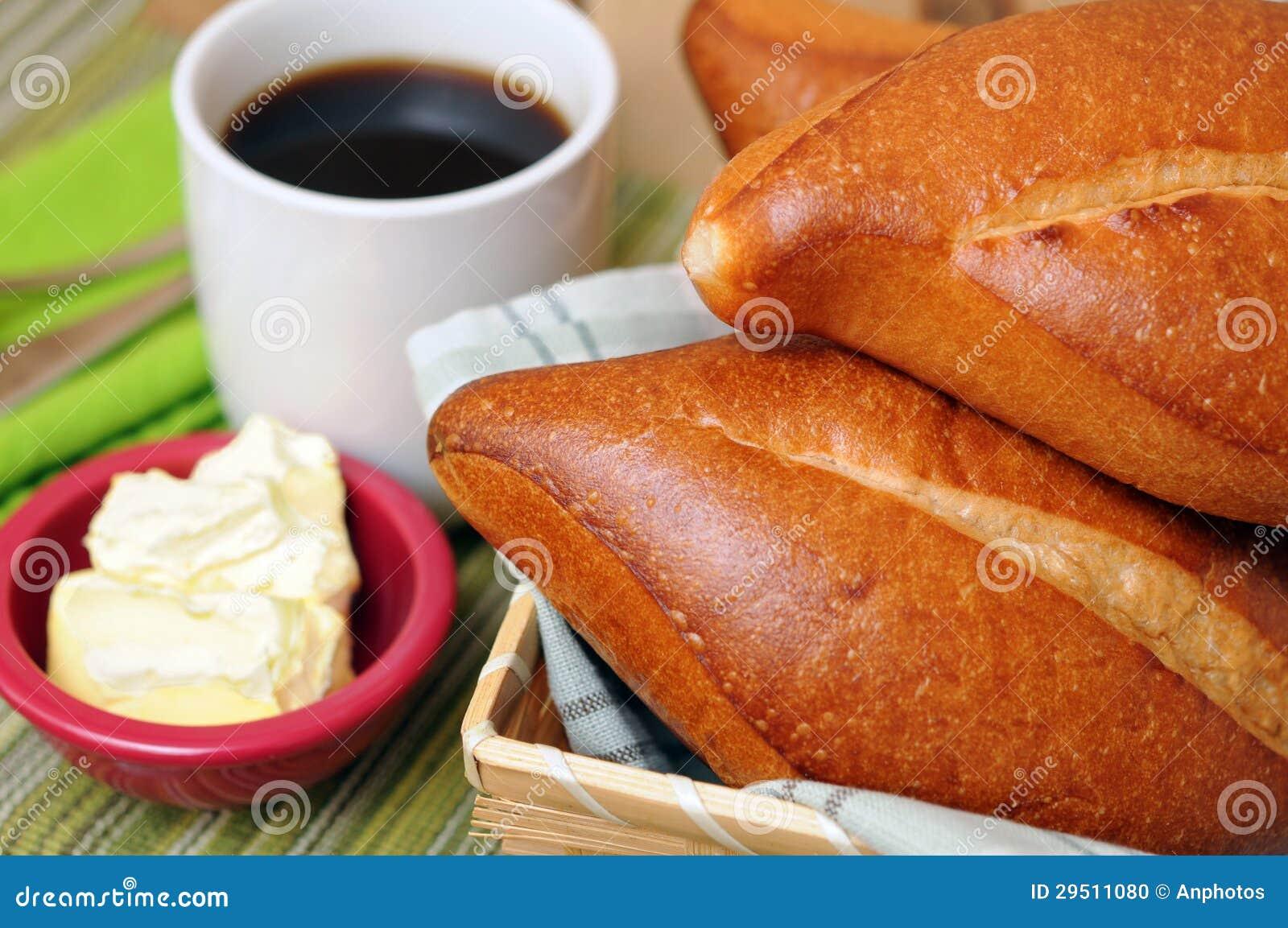 Ontbijt met koffie en brood