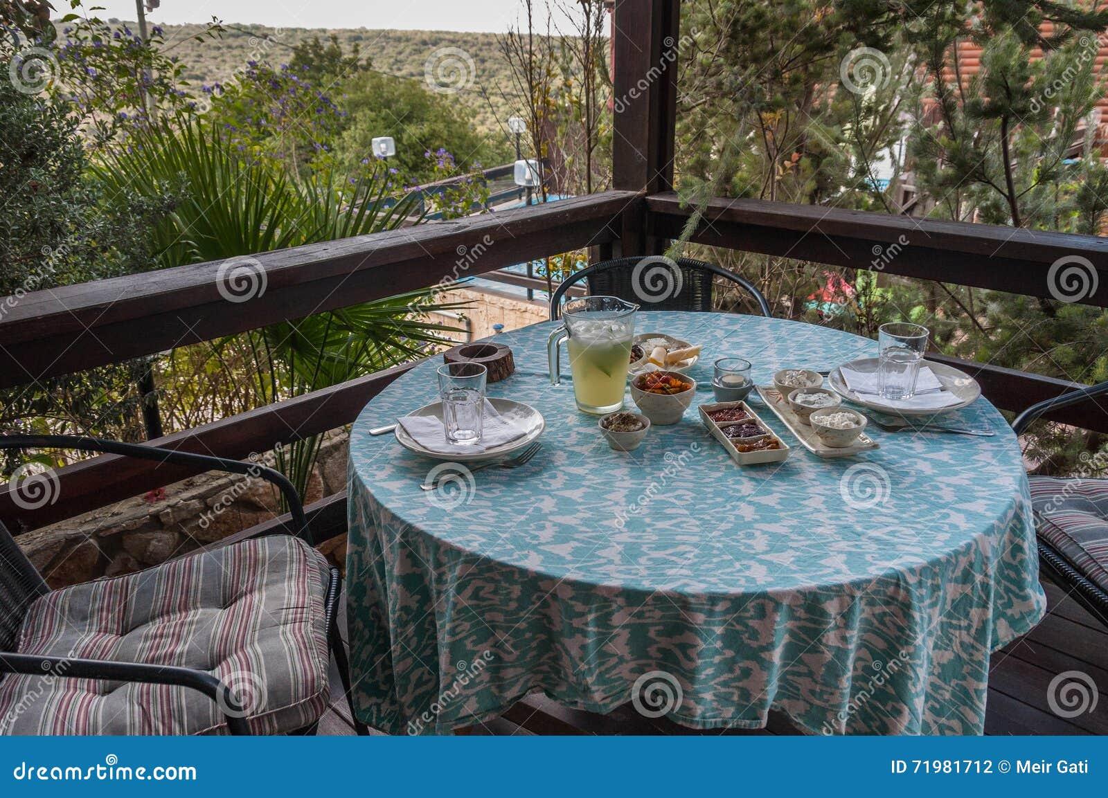 Ontbijt op het balkon met toneelmening