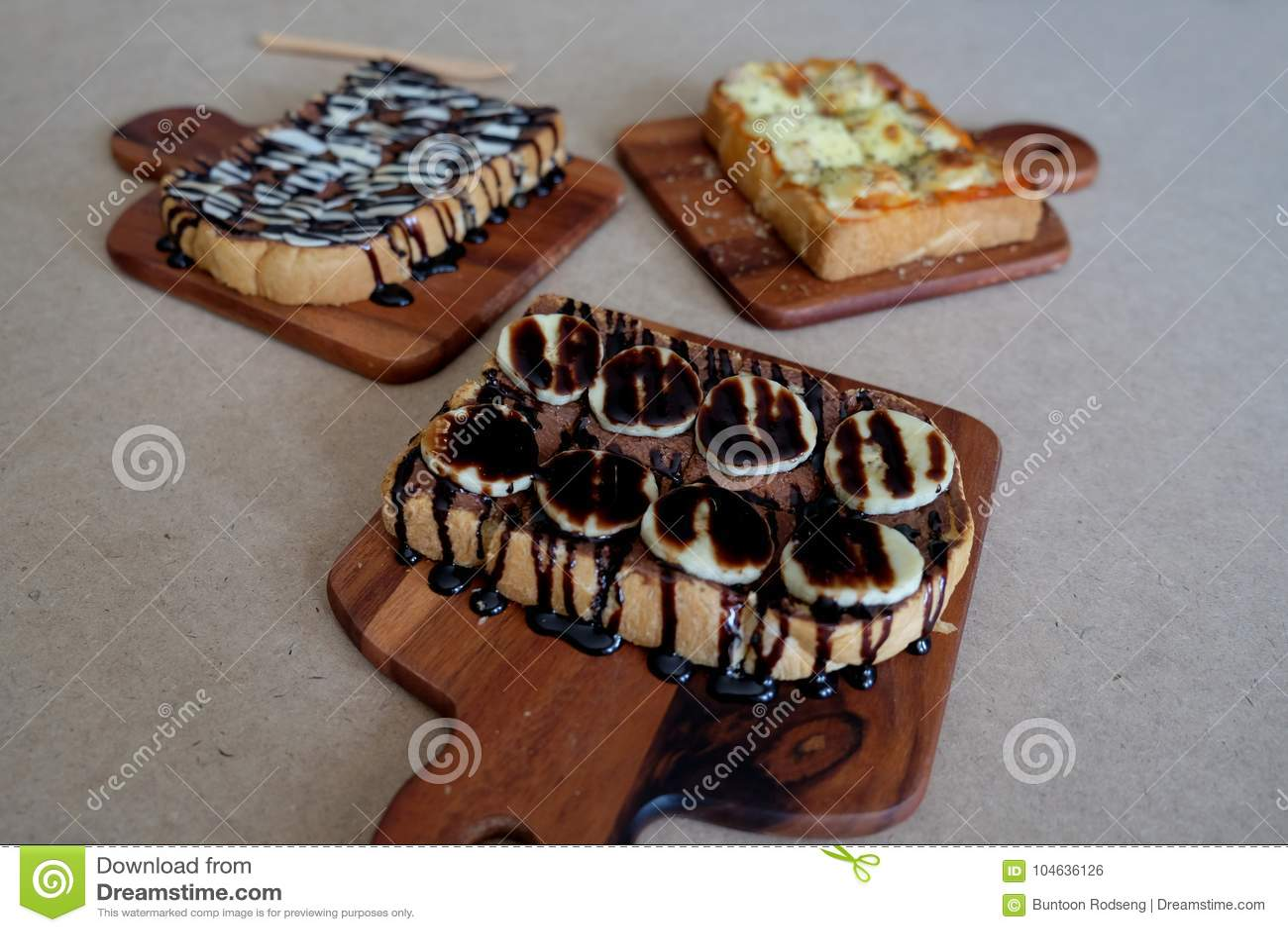 Download Ontbijttoost, Pizza, Bananenchocolade, Chocoladepinda Stock Foto - Afbeelding bestaande uit brood, gezond: 104636126