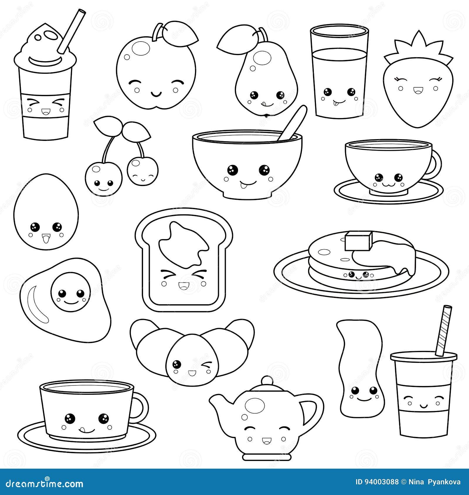 ontbijtvoedsel en dranken vector illustratie illustratie