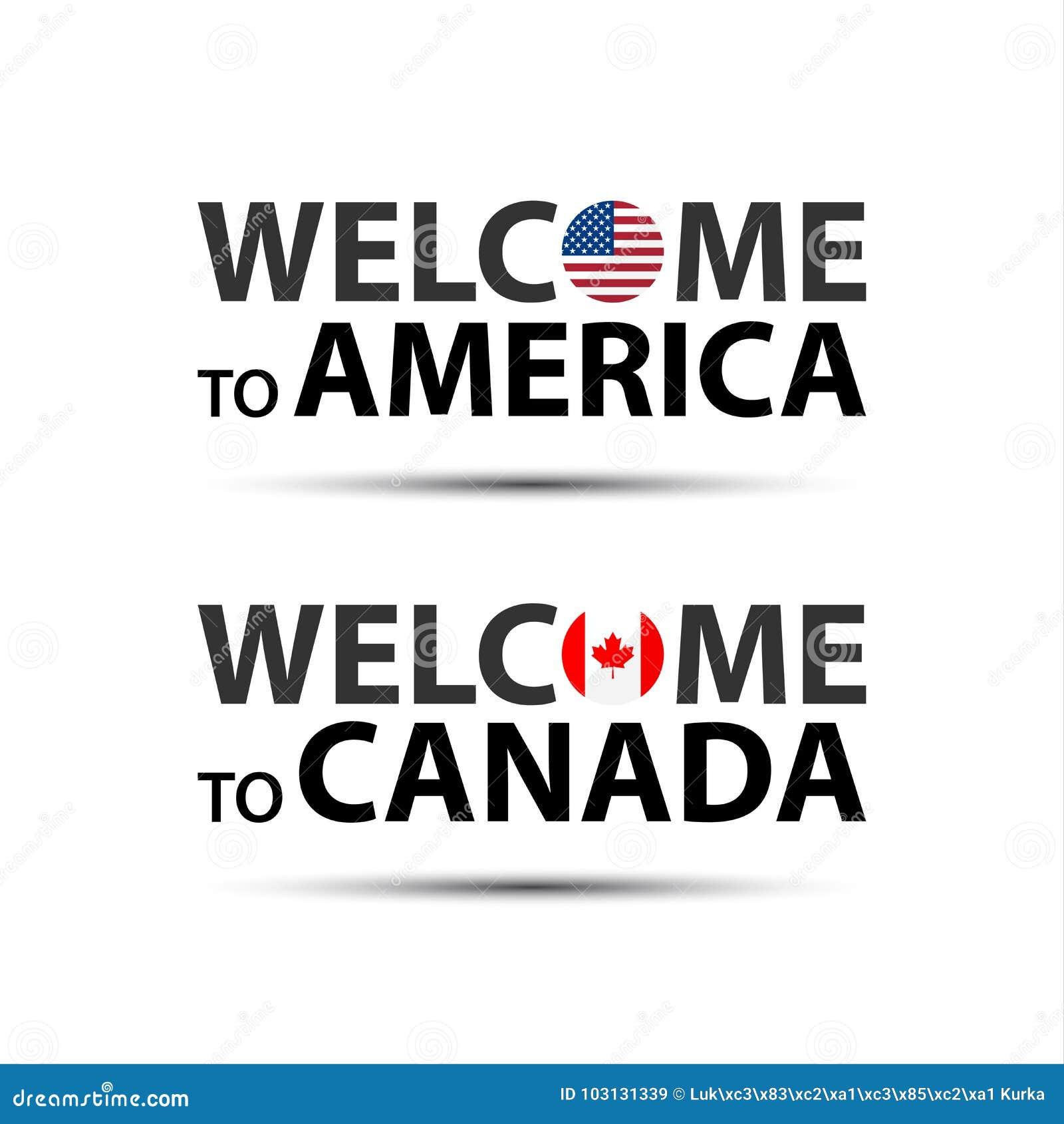 Onthaal aan Amerika, de V.S. en onthaal aan de symbolen van Canada met vlaggen