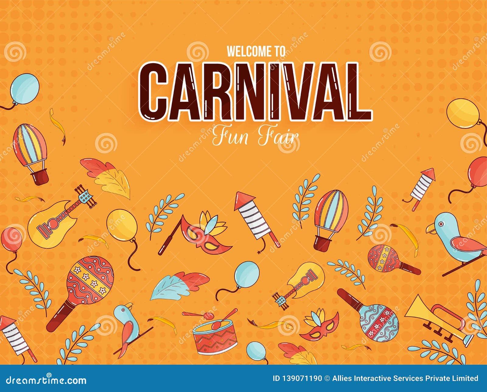 Onthaal aan Carnaval-van de pret eerlijk affiche of banner ontwerp