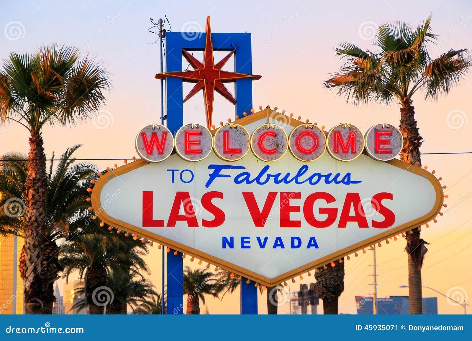 Onthaal aan het Fabelachtige teken van Las Vegas bij nacht, Nevada
