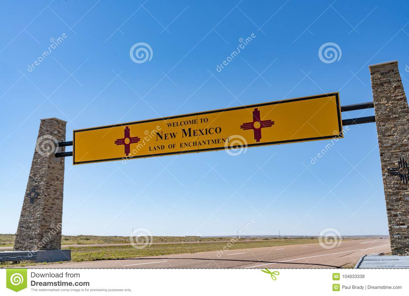 Download Onthaal Aan Het Teken Van New Mexico Stock Afbeelding - Afbeelding bestaande uit signage, grens: 104633339