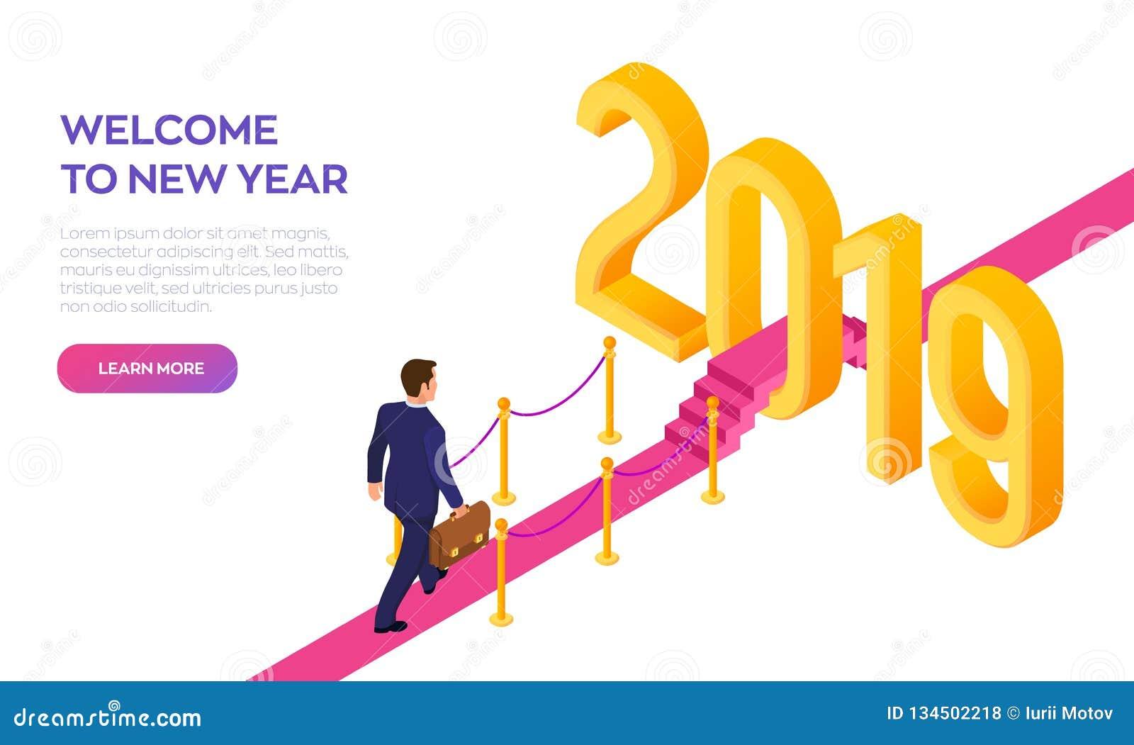 Onthaal 2019 Nieuw jaar Weg aan Nieuwjaar Zakenman met aktentas het in hand lopen op rood tapijt aan het Nieuwjaar van 2019
