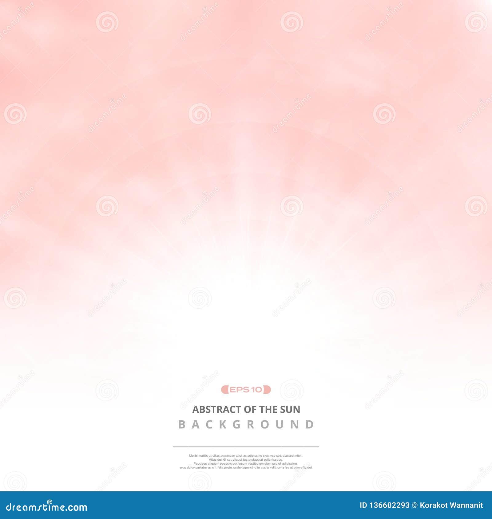 Ontruim roze hemel met de achtergrond van het wolkenpatroon en zonuitbarsting