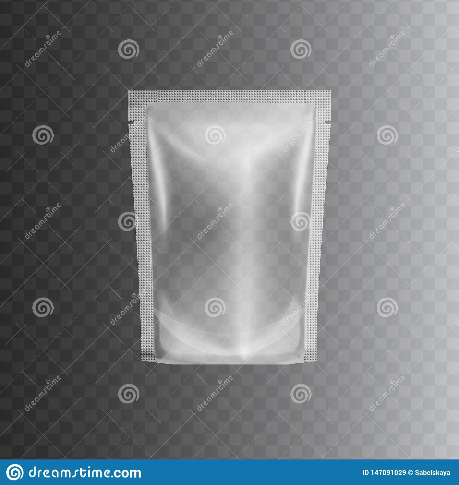 Ontruim verzegeld plastic zakpakket, realistisch 3d model