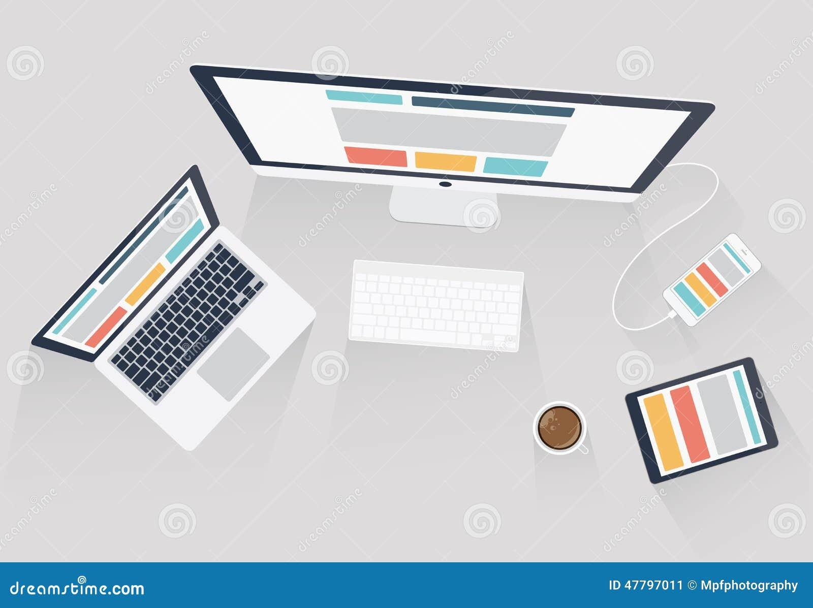 Ontvankelijk Webontwerp en de vectorillustratie van de Webontwikkeling