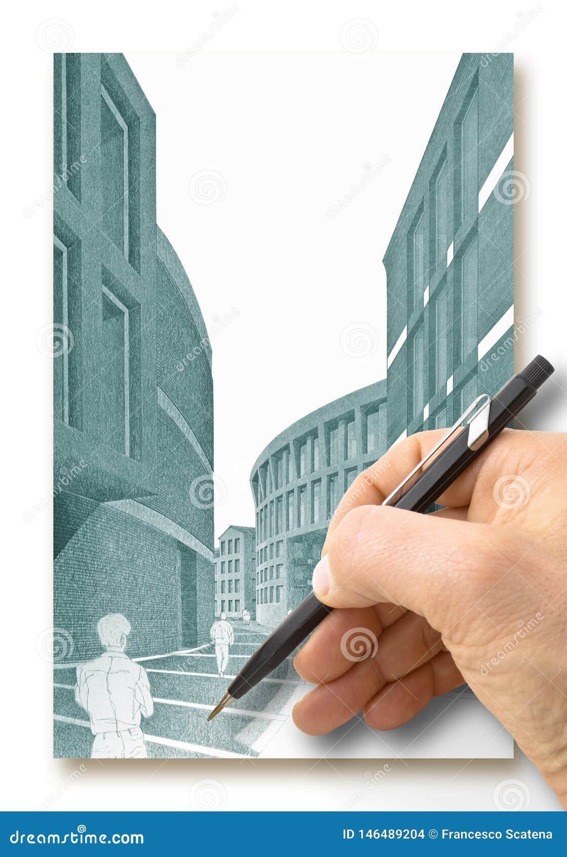 Ontwerp een nieuwe stad - Handtekening met een potlood een schets van een nieuwe moderne stad binnenland - conceptenbeeld - ik be