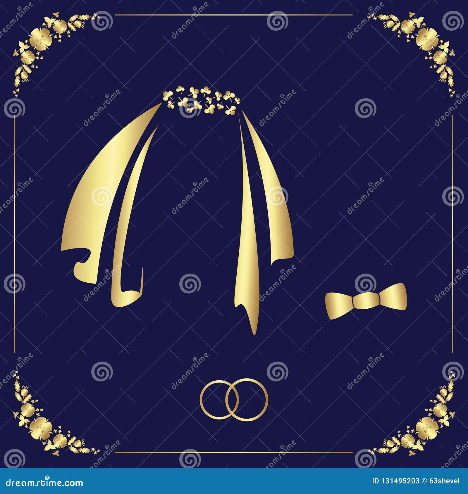 Ontwerp van een huwelijksmalplaatje van een bloemenkader, twee ringen, sluiers en vlinderdas
